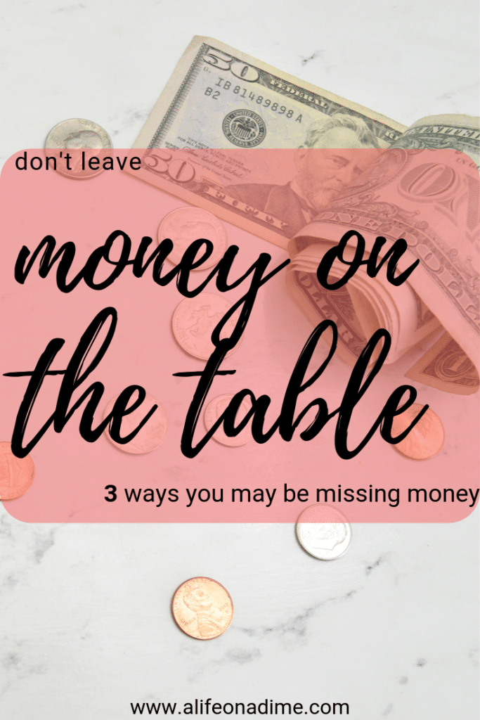 money on the table