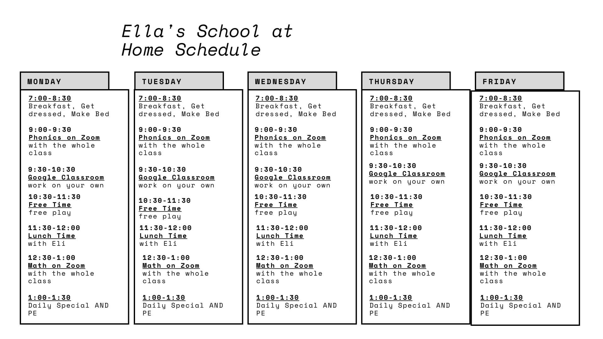 """schedule to help with navigating the new """"normal for now"""""""